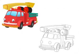 fire engine colored coloring pages for kindergarten and preschool free printable