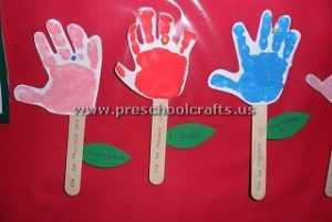 flower popsicle stick and handprint craft idea