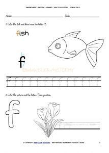free printable color the fish and then trace letter f