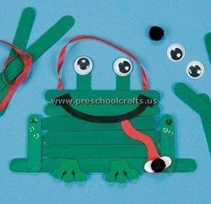 frog popsicle stick craft idea for kids
