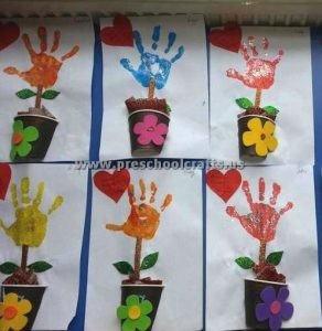 handprint flowers crafts for welcome spring