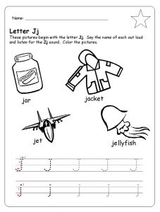 letter j trace line worksheet for preschool