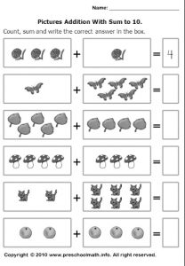 pictures addition with sum to 10 worksheets for preschool