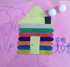 popsicle stick house craft idea for kids