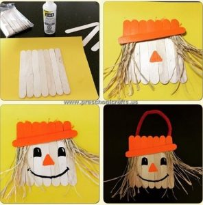 popsicle stick scarecrow craft idea