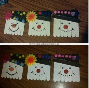 popsicle stick snowman craft idea for kids