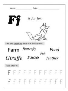 preschool worksheet related to letter f is for fox