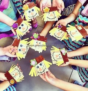 scarecrow popsicle stick crafts for kids