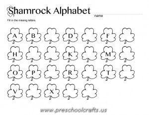 st patrick day alphabet letters worksheets for kids