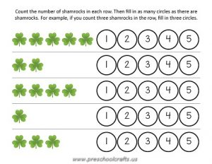 st patrick day numbers worksheets for kids