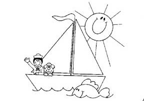 sun sailboat coloring pages for preschool and kindergarten