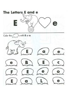 the letter E and e worksheet