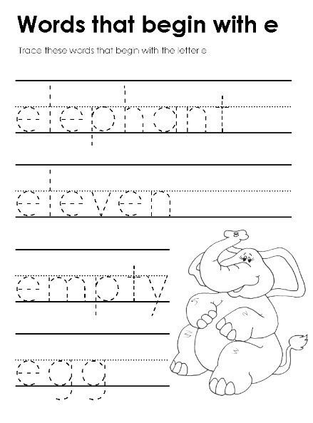 words that start with the letter e trace these words that begin with the letter e preschool 31063