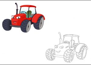 tractor colored coloring pages for kindergarten and preschool free printable