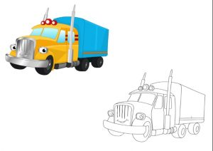 truck colored coloring pages for kindergarten and preschool free printable