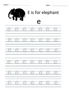 worksheet related to letter e