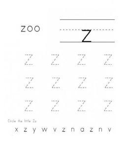 Circle thw little z worksheet for kindergarten