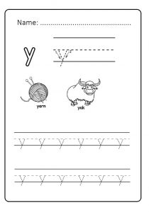 Draw the lowercase letter y for kindergarten