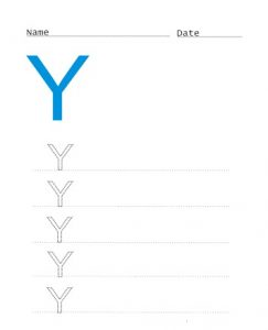 Draw the uppercase letter Y for preschooler