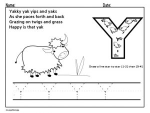 Draw the uppercase letter Y for preschoolers