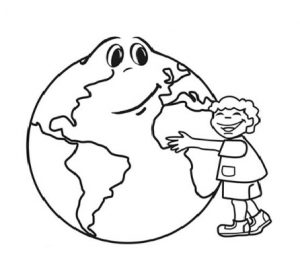 Earth Day Coloring Page for Kindergarten