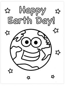 Happy Earth Day Colouring Pages for Kindergarten