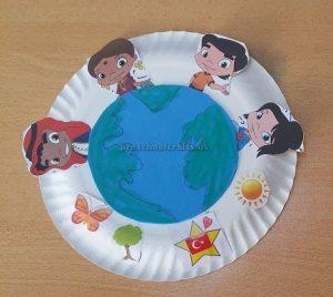 Happy Earth Day Paper Plate Craft Idea for Preschool