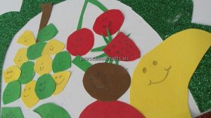 Kindergarten Spring Fruits Craft Ideas - Grape Strawberry Banana Craft Ideas