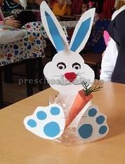 Plastic bottle bunny craft for preschool