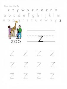 Practice tracing Line Small Letter z worksheets for preschooler - circle the little z