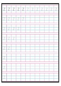 Practice tracing Line letter z worksheets for 1st grade
