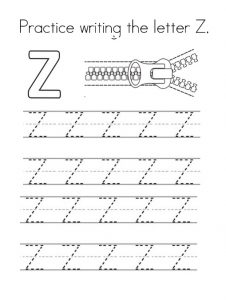 Practice writing the Capital Letter Z
