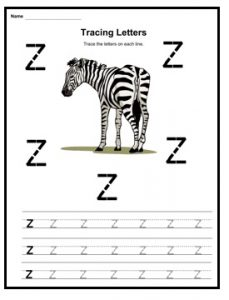 Small letter z is for zebra worksheet for kindergarten - Practice tracing Line letter z worksheets for 1st grade