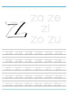 Small letter z worksheet for kindergarten - Practice tracing Line letter z worksheets 1st grade