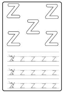 Small letter z worksheet for kindergarten - tracing Line letter z worksheets for 1st grade