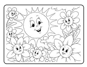 Spring sun coloring pages for kids free printable