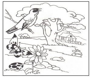 Spring theme printable coloring pages for kids