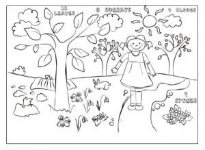 Spring theme printable coloring pages for preschool