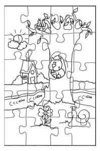 Spring theme puzzle coloring pages for kids free printable
