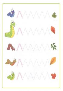 Spring theme trace line animal worksheet for preschool