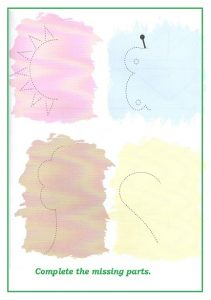 Spring theme trace line worksheet for kindergarten