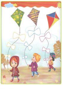 Spring theme tracing line worksheet for preschooler