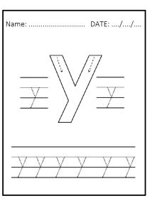 Trace the lowercase letter y worksheet for kindergarten