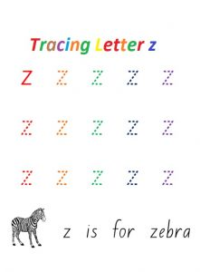 Tracing small letter z is for zebra colored worksheet for preschooler