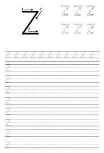Uppercase Letter Z Trace Line Worksheet