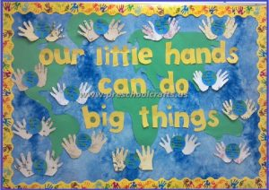earth day handprint bulletin boards for kids