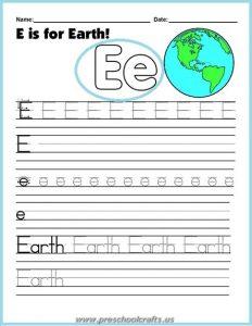 earth day worksheets for letter e teaching