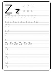 firstgrade worksheet of small letter z