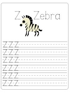 free printable Uppercase letter z worksheet