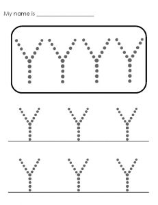 free printable uppercase letter Y practice for pre-school